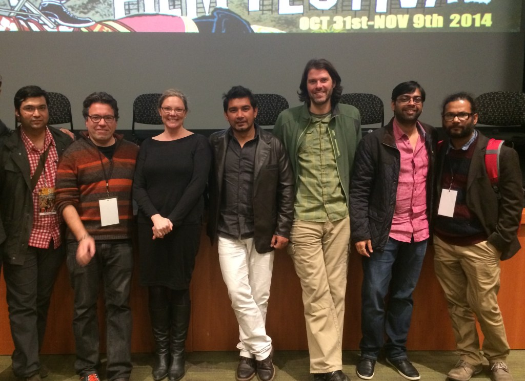 Festival Marketing Manager Monish Gangwani, Moderator Warren Etheredge, Washington Filmworks Executive Director Amy Lillard, and Filmmakers   Subrana Thapa, John Jeffcoat, Kanu Behl, and Mayank Tiwari.