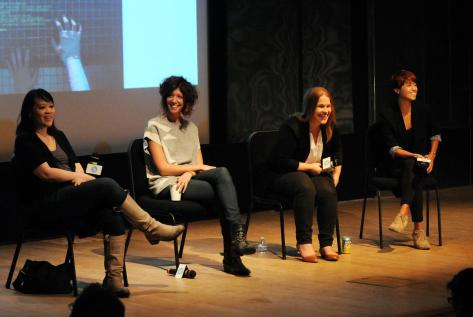 Copyright 2014 Desiree Navarro/Wire Image. From left to right: Mynette Louie, Elisabeth Holm, Maggie Cech, Lisa Biagiotti. Photo taken at our 2014 Artist Services Workshop in New York.