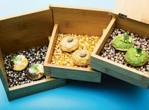 Wooden jewelry box for masa puffs at Pineapple and Pearls.