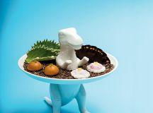 Left: Ceramic dinosaur plate for petits fours at Minibar.