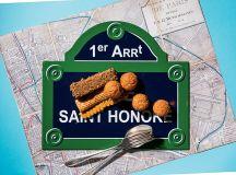 Top: Enamel street sign and Paris map for Saint-Honoré cake at Métier.