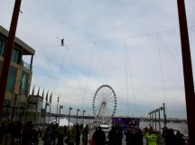 Nik Wallenda walks between two buildings at the National Harbor. Photo by Evy Mages.