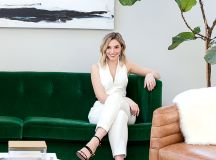 Metzler in her living room—which combines vintage pieces with finds from CB2 and Ikea. Photograph of Metzler by Anne Kim for Laura Metzler Photography.