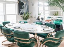 The green velvet dining chairs by Milo Baughman, top, were a bargain on eBay, while Metzler scored the marble tabletop on clearance at Restoration Hardware.