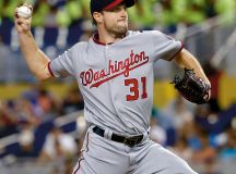Nats ace Max Scherzer, the starting National League pitcher in last year's All-Star Game. Photograph of Scherzer by David Santiago/el Nuevo Herald/TNS/Alamy Live News.