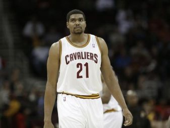 Cleveland Cavaliers' Andrew Bynum before an NBA basketball game against the Detroit Pistons Monday, Dec. 23, 2013, in Cleveland. (AP Photo/Mark Duncan)