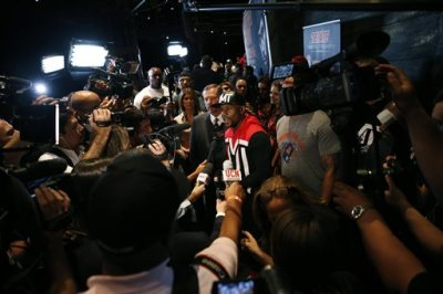Floyd Mayweather Jr. speaks with the media during a news conference Wednesday, April 29, 2015, in Las Vegas. Mayweather will face Manny Pacquiao in a welterweight boxing match in Las Vegas on May 2. (AP Photo/John Locher)