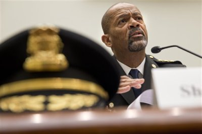 In this May 19, 2015 file photo, Milwaukee, Wis. County Sheriff David Clarke Jr. testifies on Capitol Hill in Washington. A majority of blacks in the U.S., more than three out of five, say they or a family member have personal experience with being treated unfairly by the police, and their race is the reason why. (AP Photo/Jacquelyn Martin, File)