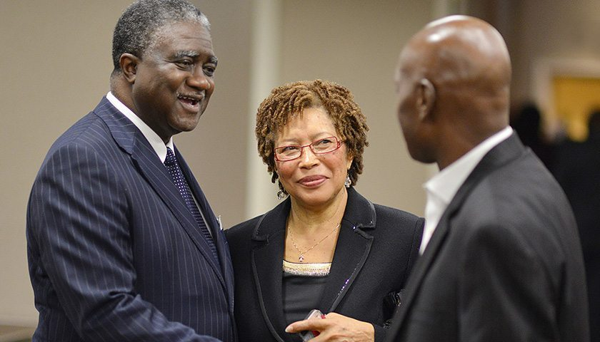 Veteran journalist George Curry (left) and Ann Ragland attend an NNPA reception during the Congressional Black Caucus Annual Legislative Conference in Northwest Washington, D.C. in 2014. (Freddie Allen/AMG/NNPA)