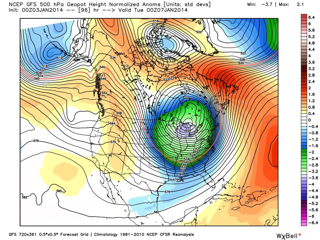 Graphic showing a simulation of the polar vortex over the Great Lakes on Monday night (weatherbell.com]