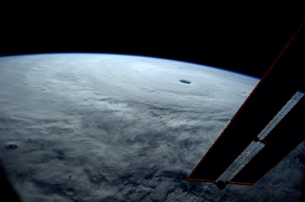 Super Typhoon Vongfong as seen from the International Space Station on Thursday. (Reid Wiseman via Twitter)