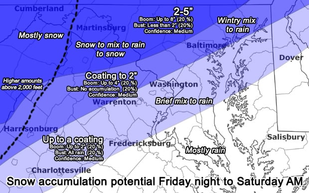 Updates Mostly rain in DC metro overnight but snow and wintry mix north and   Washington