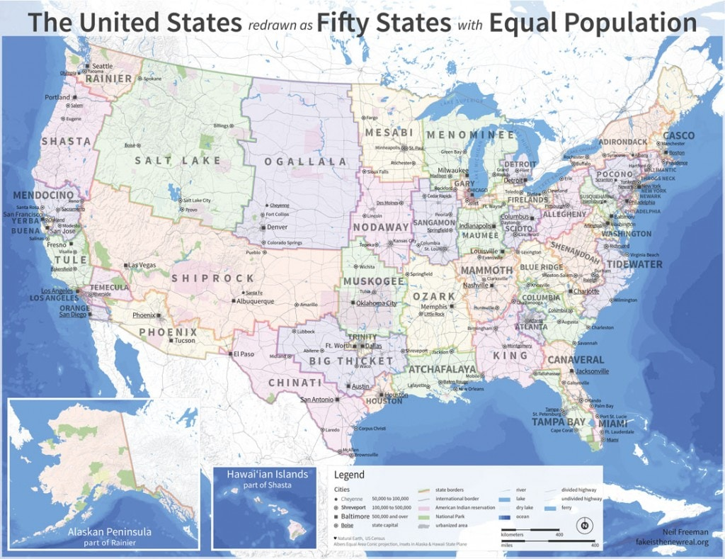 The 50 States Redrawn With Equal Population
