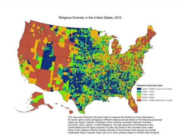 Religion in Americas states and counties in 6 maps The
