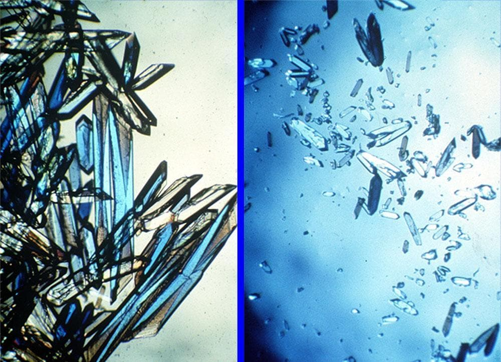 The crystals on the left were grown in microgravity. Those on the right formed on Earth.  (NASA)
