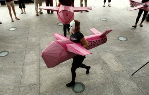 A Code Pink demonstrator in Washington, D.C., earlier this month. (Kevin Lamarque/Reuters)
