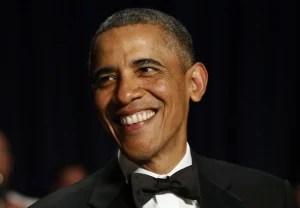 U.S. President Barack Obama smiles during the White House Correspondents Association Dinner in Washington April 27, 2013.(Kevin Lamarque/Reuters)
