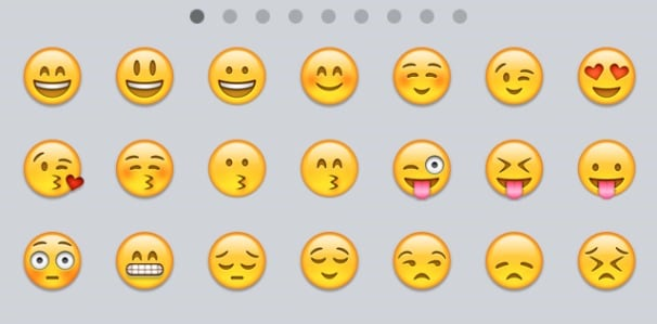 A screenshot of Apple's emoticons.