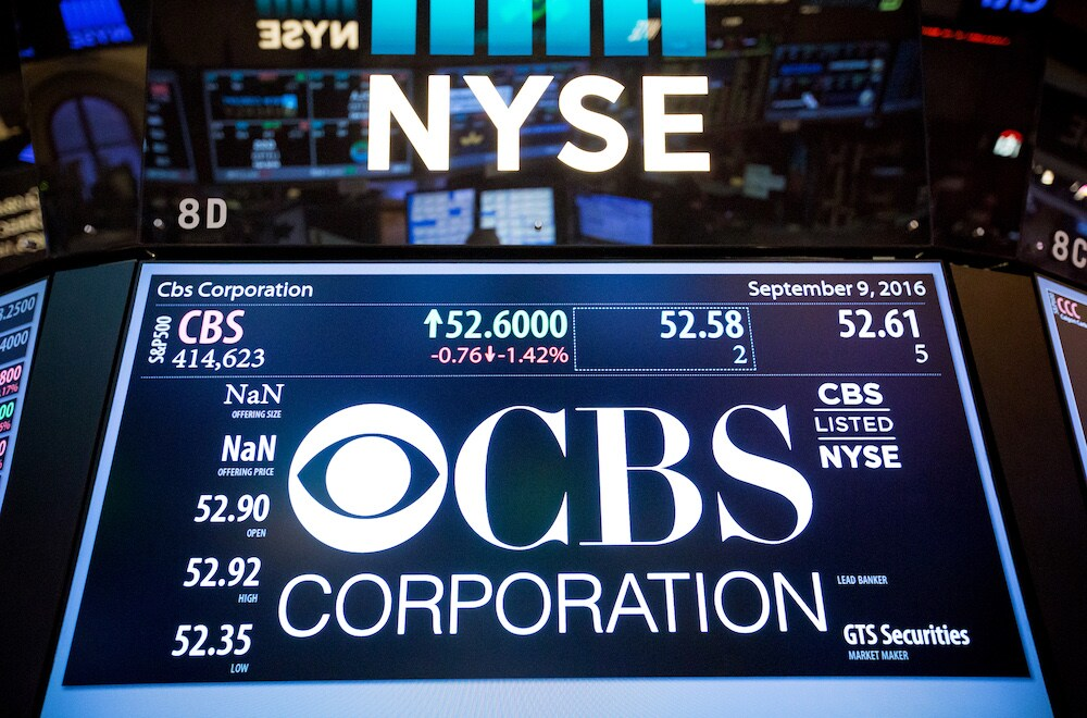 CBS Corp. signage is displayed on a monitor on the floor of the New York Stock Exchange (NYSE) in New York, U.S., on Friday, Sept. 9, 2016. U.S. stocks fell the most since Britain voted to leave the European Union, after a Federal Reserve official signaled more willingness to raise interest rates. Photographer: Michael Nagle/Bloomberg