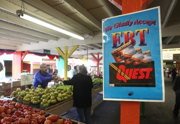 A farmers market in Roseville, Calif. advertises its acceptance of EBT (electronic benefit transfer) cards, which are used for food stamps. (Rich Pedroncelli/AP)