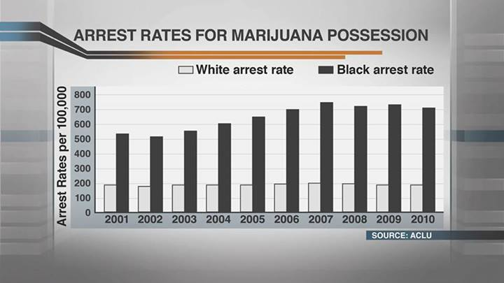 Marijuana possession arrest rates, white : black in America