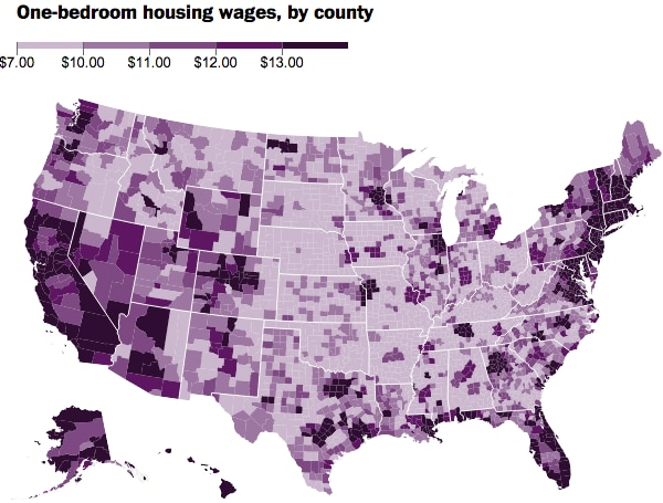 county rental wages