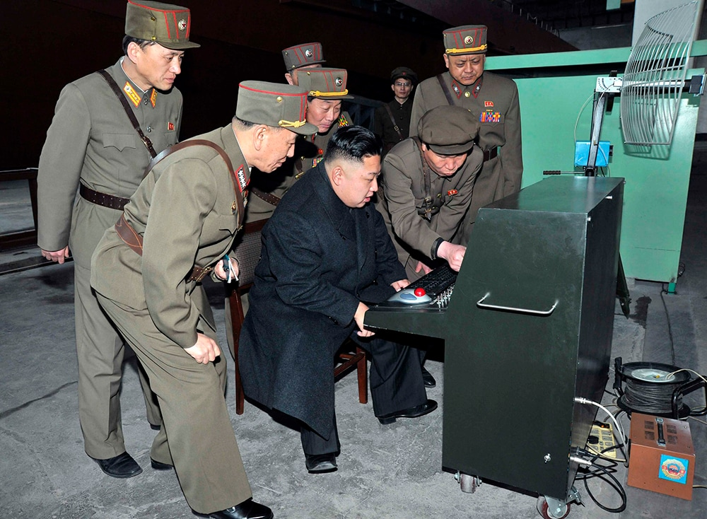 "Kim Jong Un inspects ""new"" military technology made by unit 1501 of the Korean People's Army. (REUTERS/KCNA)"
