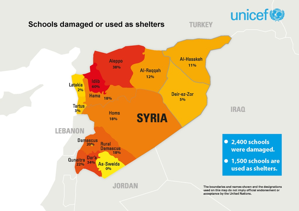 Schools in Syrian war, map