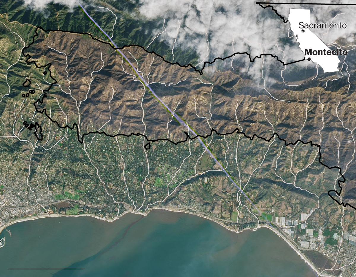 Map Of Montecito Mudslide - Washington Post