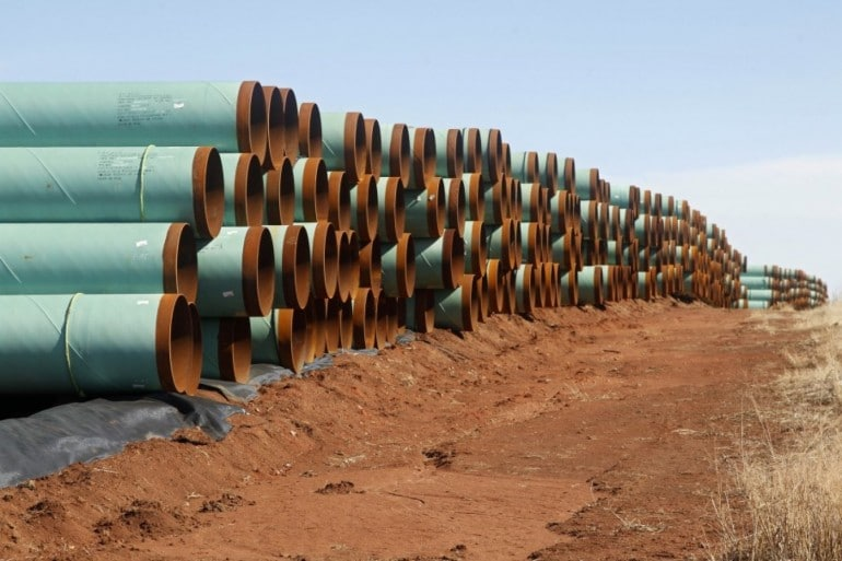 Pipeline prepared for use in the controversial Keystone XL project (2012). Pipeline takings have become increasingly controversial in recent years.