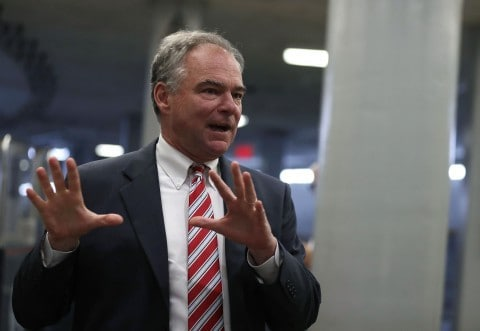 Democratic Senator Tim Kaine, a longtime critic of unilateral presidential warmaking.