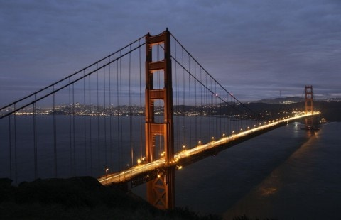 San Francisco's famous Golden Gate Bridge.