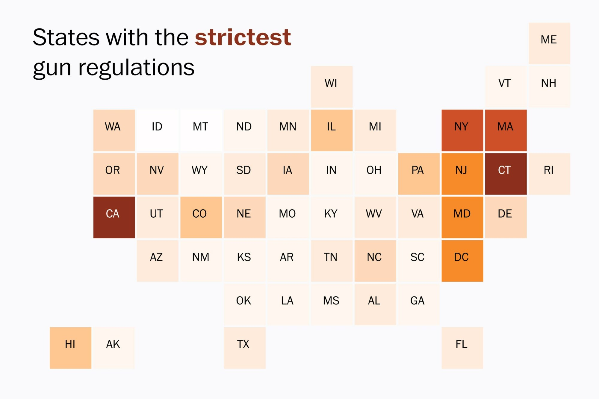 hight resolution of a guide to how strictly guns are regulated in every state washington post