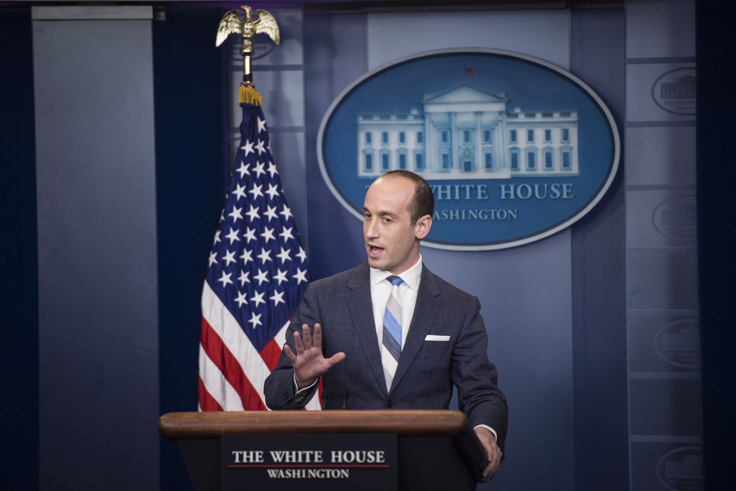 Miller speaks during a news briefing at the White House on Aug. 2, 2017. (Jabin Botsford/The Washington Post)