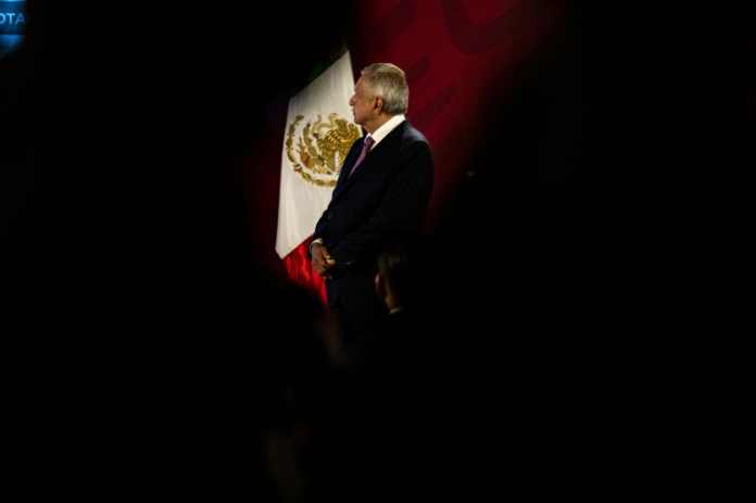 Mexican President Andrés Manuel López Obrador at a news conference at the National Palace in Mexico City. The prosecution of Gen. Eduardo León Trauwitz, the former chief of security at the state-run oil company Pemex, is seen as a test of his anti-corruption drive. (Alejandro Cegarra/Bloomberg)