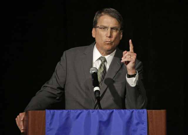 North Carolina Gov. Pat McCrory speaks during a candidate forum in Charlotte, N.C., on Friday. (Chuck Burton/Associated Press)