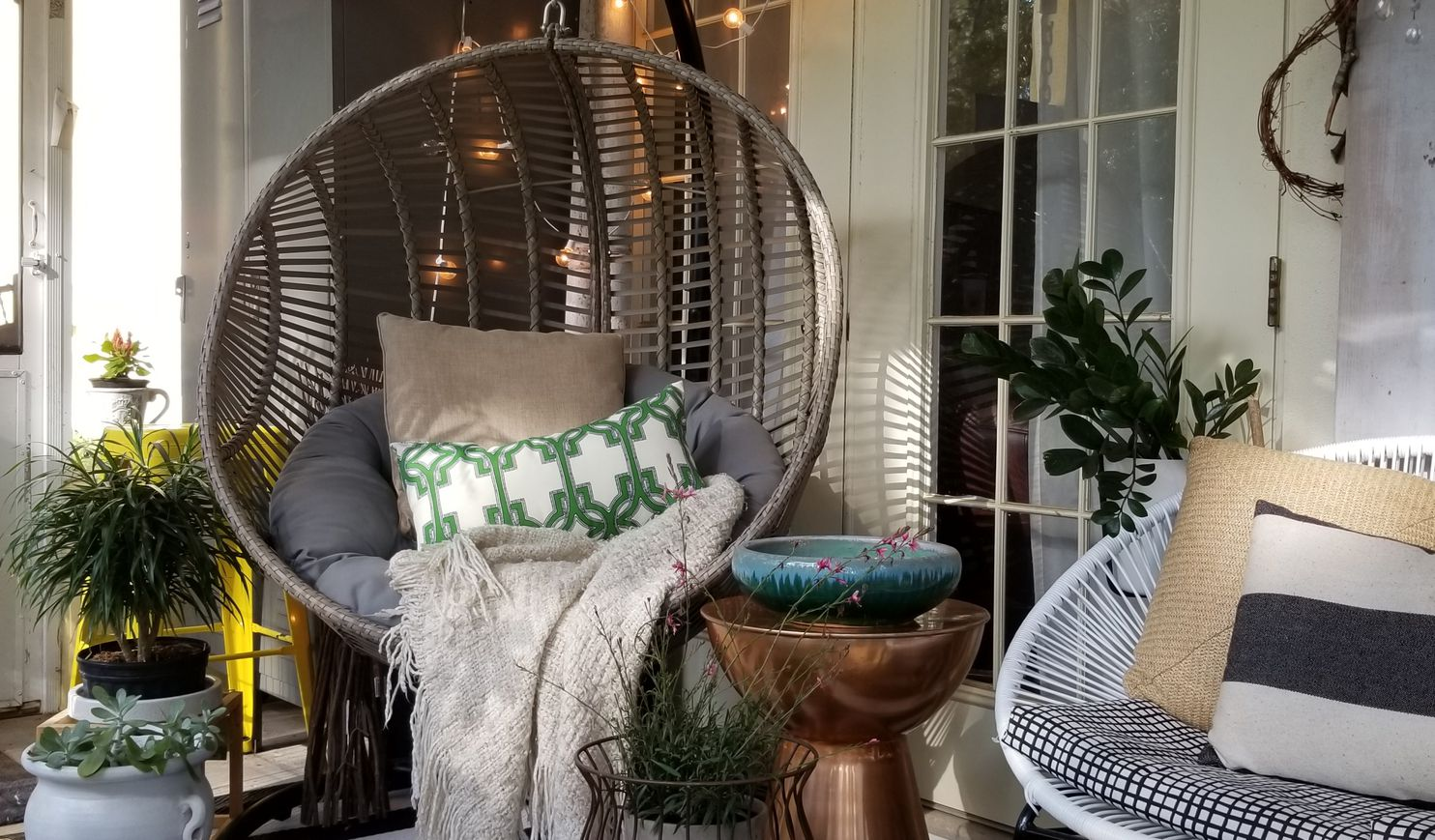 patio hanging egg chair movie theater chairs for sale were everywhere this summer here s how to get the blogger decorator and product stylist holli rodrigues decorated her with a shared it on blog bees n burlap