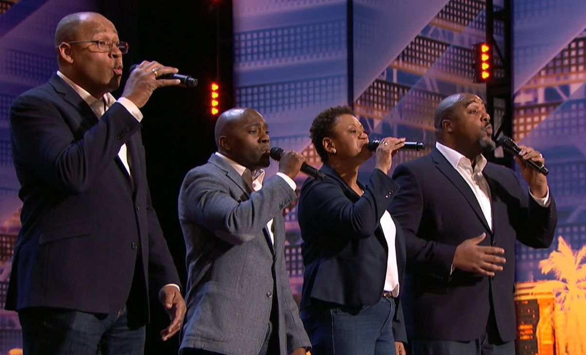 Caleb Green Left And The Voices Of Service Quartet Perform On Americas Got Talent Nbc