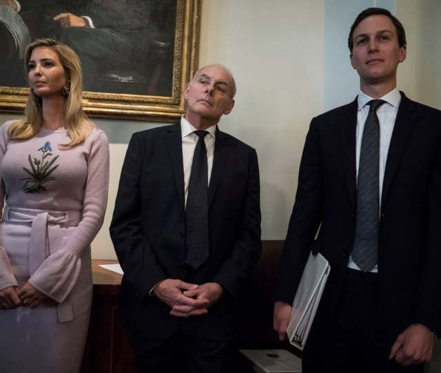 Ivanka Trump Then White House Chief Of Staff John Kelly And White House Senior Adviser Jared Kushner Attend A Cabinet Meeting In 2018 At The White House