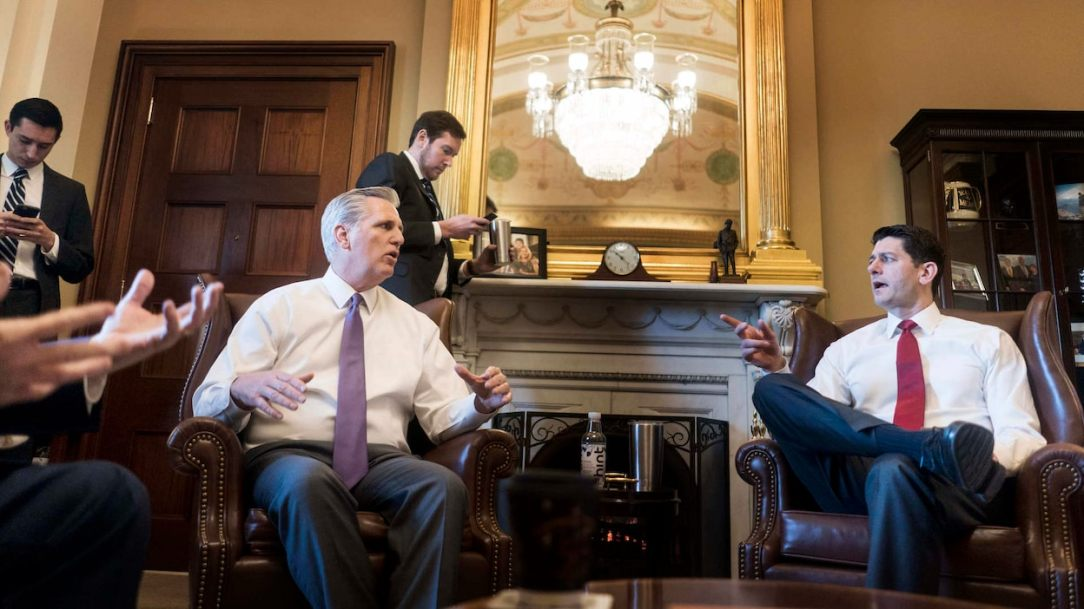 WASHINGTON, DC - House Majority Leader Kevin McCarthy and Speaker of the House Paul Ryan meet with leadership and staff to discussion the 2-year-budget deal coming up for discussion and a vote on the House floor today on Capitol Hill in Washington, DC on Thursday February 8, 2018. Conservatives have accused them of selling out principle in agreeing to a deal with Democrats that dramatically raised spending. (Photo by Melina Mara/The Washington Post)