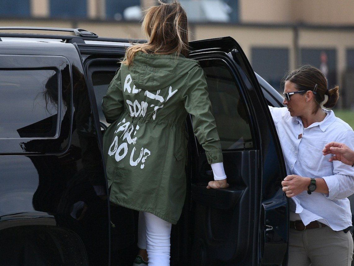 Melania Trump departs Andrews Air Force Base wearing a jacket emblazoned with the words I really don't care, do you? (Mandel Ngan/AFP/Getty Images)