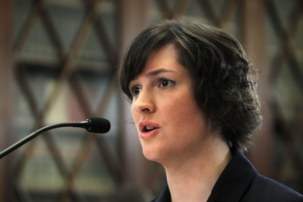 Alex Wong/GETTY IMAGES - Sandra Fluke, who was then a third-year law student at Georgetown University and former president of the Students for Reproductive Justice group, testifies in 2012.