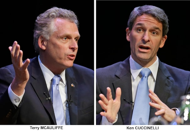 FILE - In these Oct. 10, 2013, file photos Virginia candidates for governor, Democrat Terry McAuliffe and Republican Ken Cuccinelli, talk during a forum at the University of Richmond in Richmond, Va., prior to the November election. With polls indicating more public resentment toward Republicans than Democrats in the budget battle raging on Capitol Hill, federal work stoppage directly affecting thousands of Virginia residents has put Cuccinelli on the defensive, while giving McAuliffe an opening in a race that has been neck-and-neck for months. (AP Photo/Steve Helber, File)