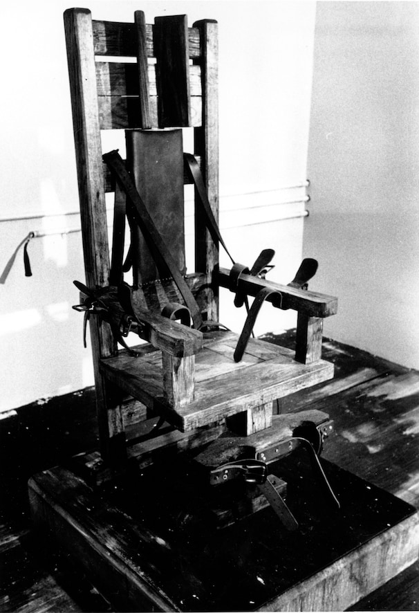 FILE - This is an undated file photo of the electric chair at the Tennessee State prison in Nashville. First used by New York State in 1890, it was used throughout the 20th century to execute hundreds and is still an option in eight states. Since 1976, 158 inmates have been executed by electrocution. It was considered humane on its introduction but resulted in many horrific executions over the years. (AP Photo, File)