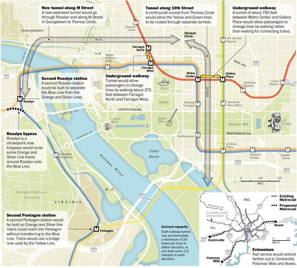 Washington Post's rendering of proposed metro improvements