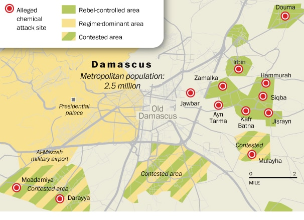Map Syrian gas attack on 2013 in Damascus