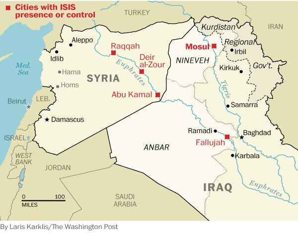 Cities under control of ISIS