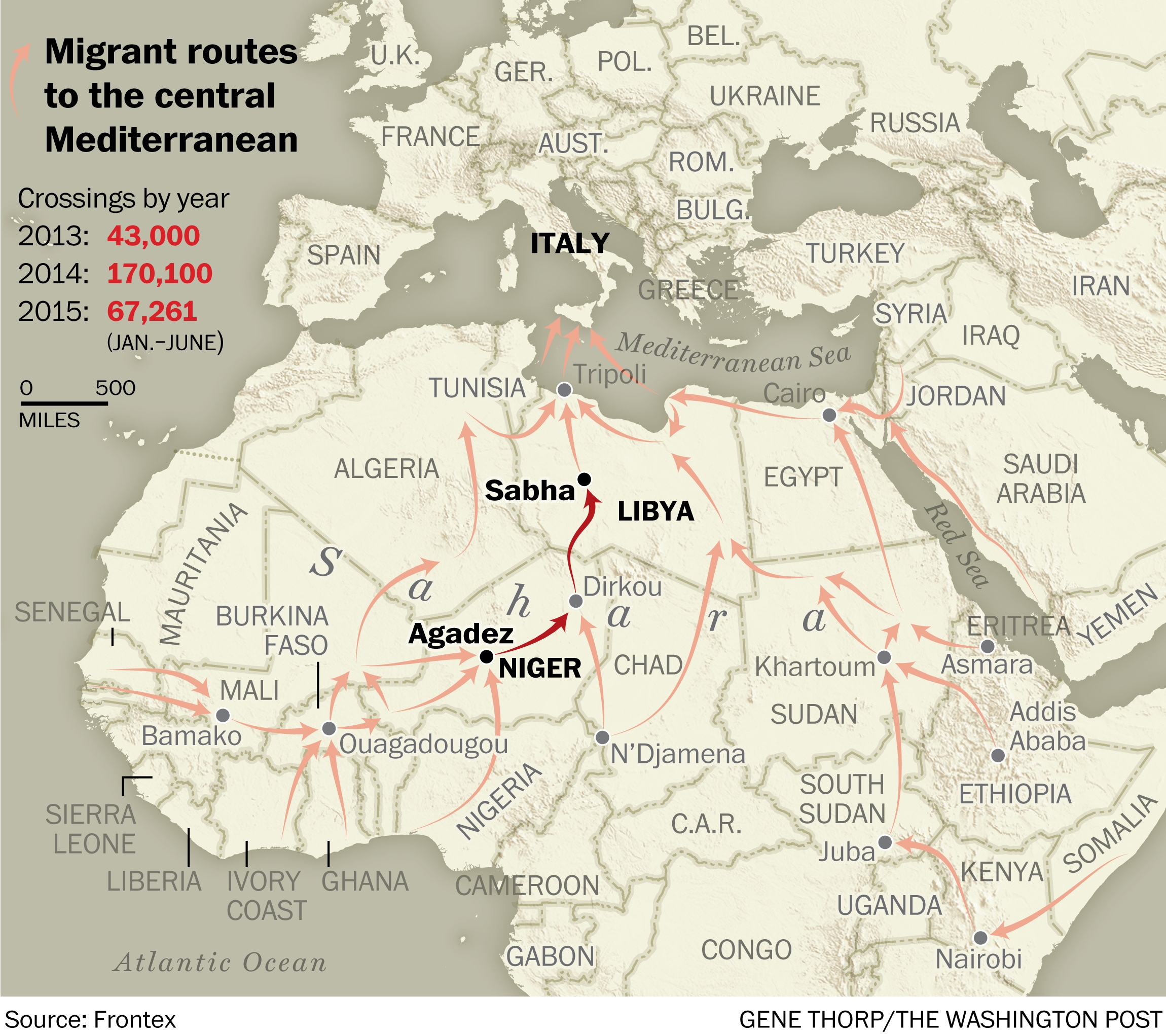 Map of migrants routes out of Africa