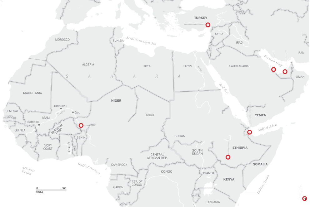 Washington Post Map Of Known U.S. Military Drone Bases In ...