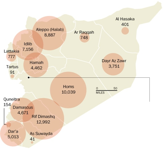deaths on Syria map